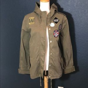 TOPSHOP army cargo hooded jacket with patches Sz4